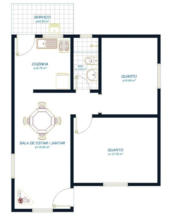 decoracao kitnet praia:área de serviço, 1 cozinha, 2 quartos, 1 banheiro e 1 sala de