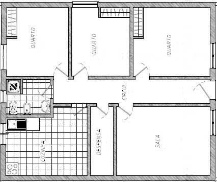 1 cozinha, 1 banheiro, 1 dispensa, 1 sala e 3 quartos