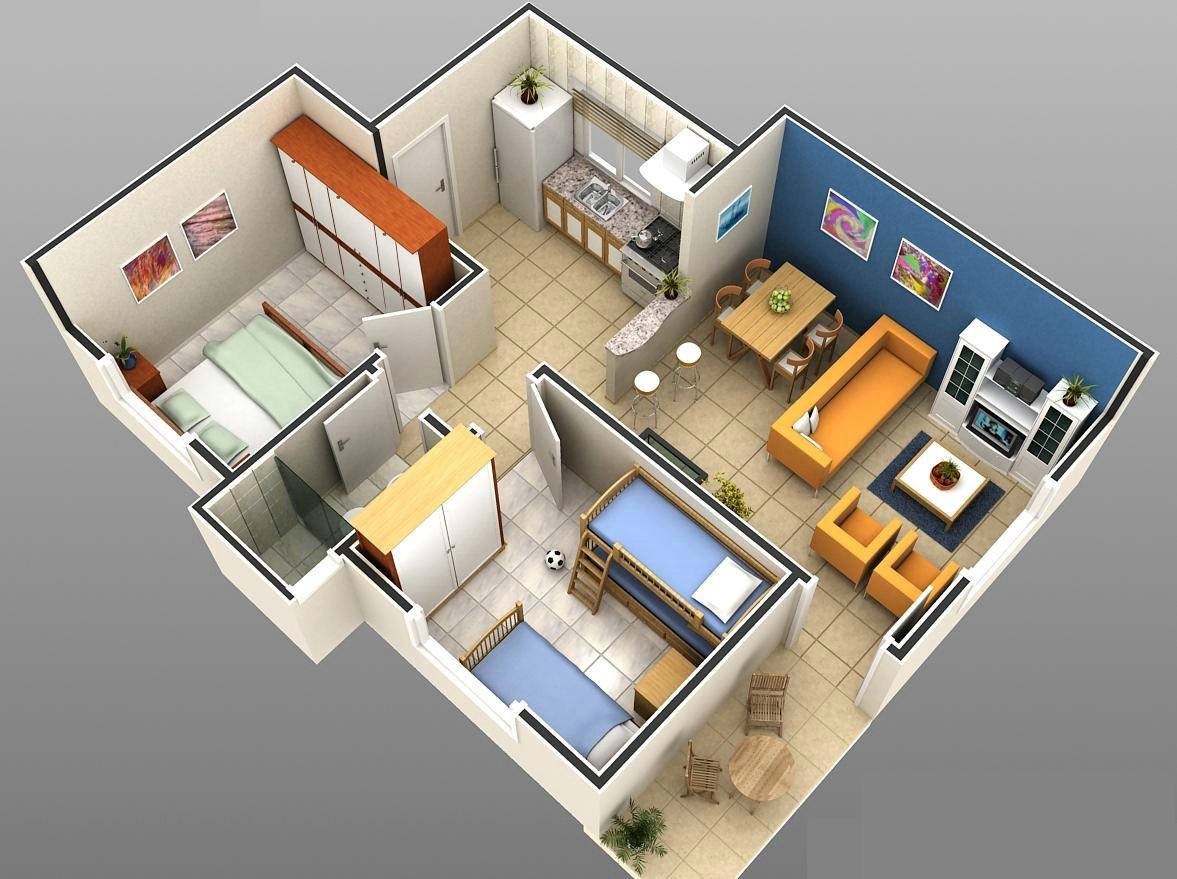#A66125  sala de jantar 2 quartos 1 cozinha 1 banheiro e uma pequena área 1177x879 px Projeto Cozinha E Quarto #2511 imagens