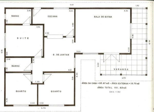 1 suite, 2 quartos, 1 banheiro, 1 cozinha, 1 sala de estar, 1 sala de jantar e varanda.