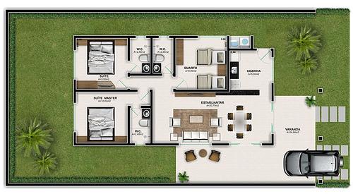 2 suites, 1 banheiro, 1 quarto, 1 sala de jantar com estar, 1 cozinha, 1 área de serviço, varanda e garagem.