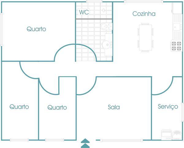 3 quartos, 1 sala, 1 banheiro, 1 cozinha e 1 área de serviço.