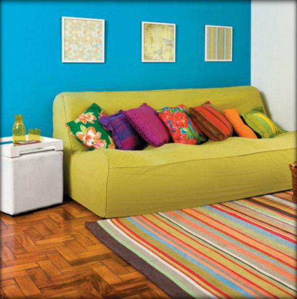Sala De Tv Com Almofadas Coloridas ~ Dicas de decoração barata para a sal