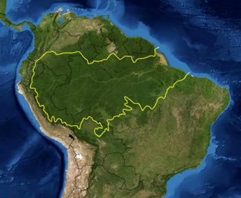 Amazônia, projeção espacial
