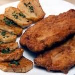 Batata doce crocante assada com frango.