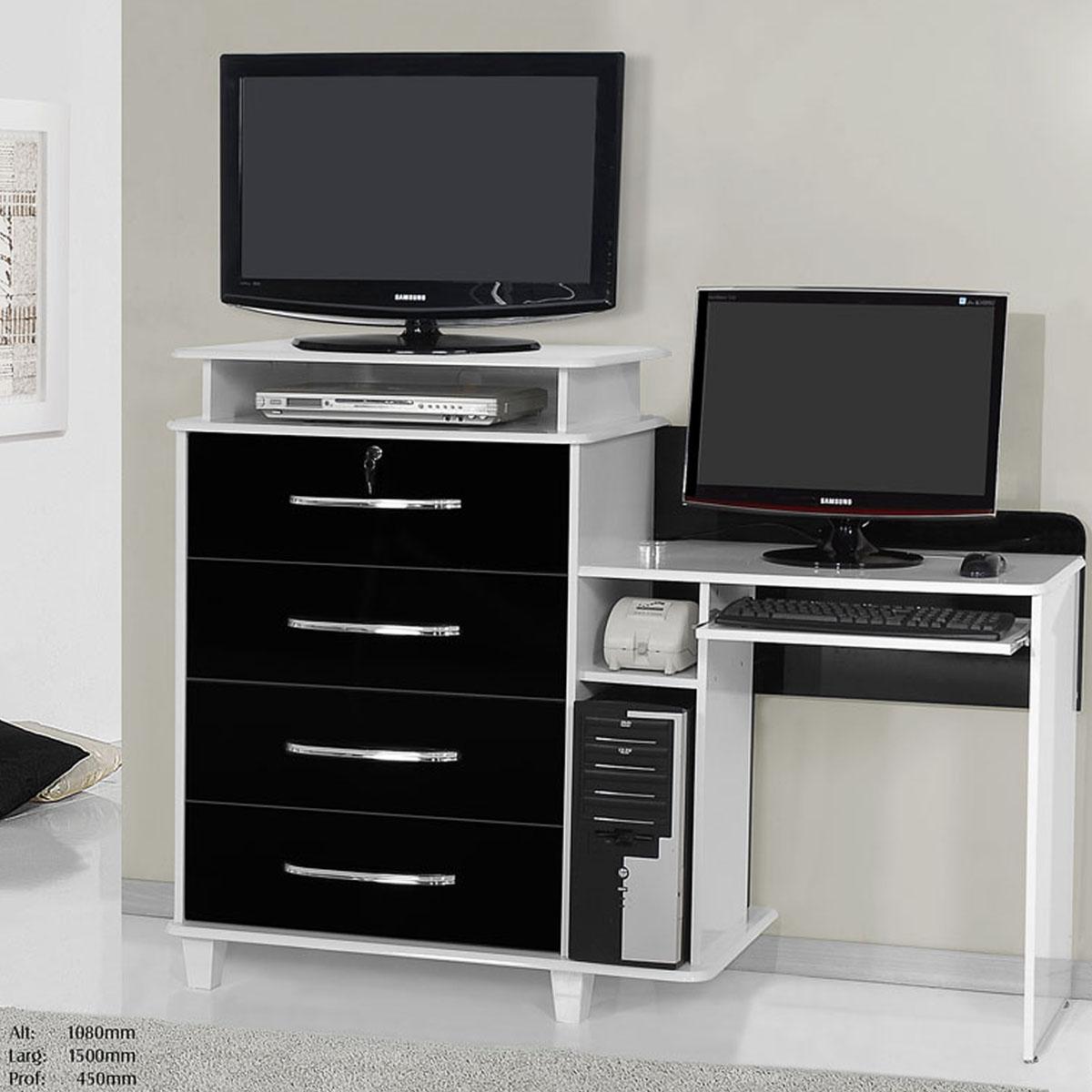 RV móveis Imola tv vídeo escrivaninha 4 gavetas banco e preto #574D4A 1200x1200
