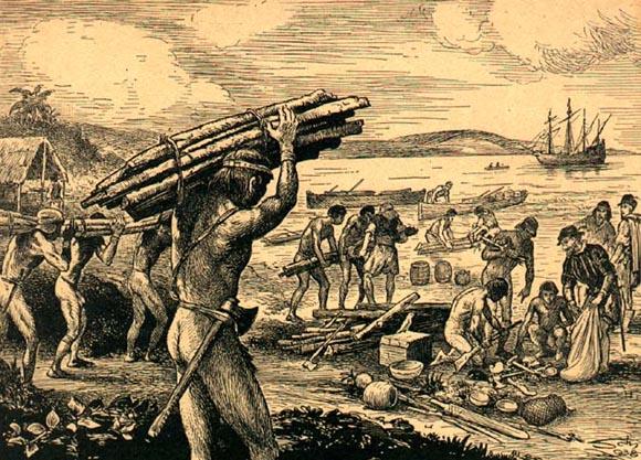 A exploração de pau brasil muito a principal fonte econômica no período pré colonial.