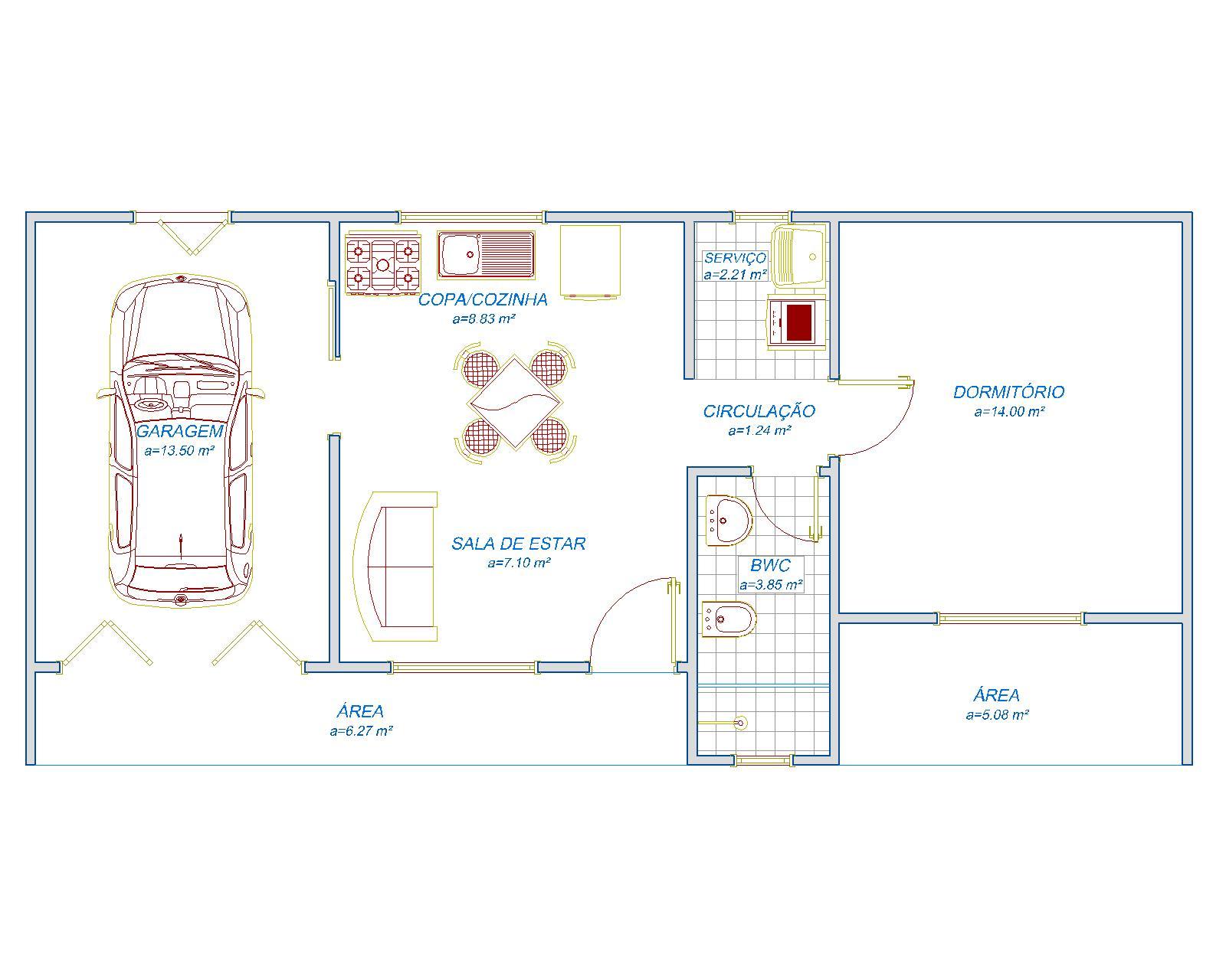 Garagem, 1 copa com cozinha, 1 sala de estar, 1 banheiro, 1 quarto, 1 área de serviço e varanda