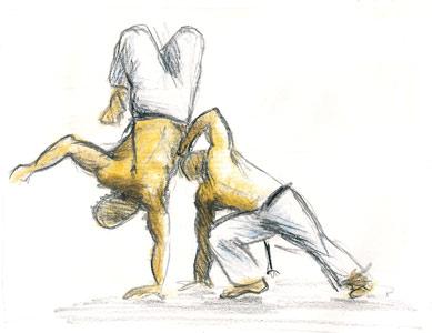 Exemplo de patrimônio imaterial - dança capoeira.