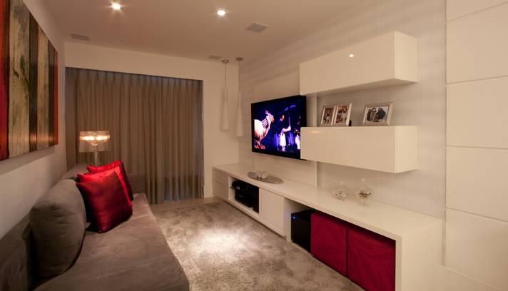 decorar sala branca:Salas pequenas decoradas dicas e modelos