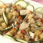 Salada de batata doce com abacaxi.