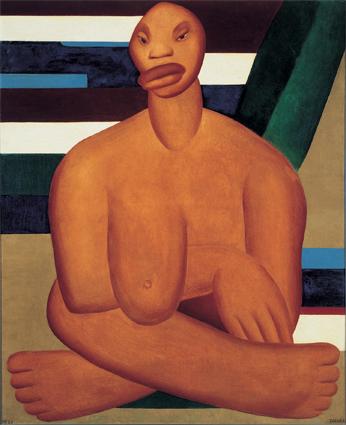 Primeira tela conhecida de  Tarsila, 'Negra'.